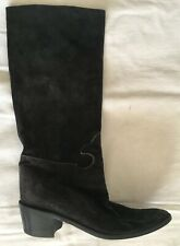 VTG MAUD FRIZON Black Suede Stitched Boots Heels 37 6.5 BARRIE CHASE COLLECTION