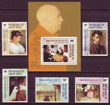 BURKINA FASO 1975;PABLO PICASSO;COMPL. SET OF 5 & SS;SC # 372-374,C220-C222;USED