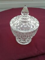 "VTG.Wexford Crystal Diamond Pattern Candy Dish Pressed Glass W/Lid 5.50"" × 3.75"""