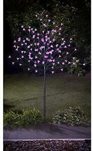 Solar Powered 4ft Outdoor Decorative 128 LED Blossom Pink Tree