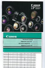 Konvolut Broschüren für Canon FD Objektive