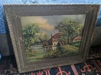 LARGE ANTIQUE GOLD WOOD GILT PICTURE FRAME VICTORIAN VTG MILL ART PRINT 26X22