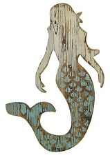 Carved Mermaid Silhouette Wood Wall Plaque Decor 25.75 Inches
