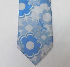 Blanco y Azul Floral Corbata tejida de seda Tie Rack Flower Power Boda romántica