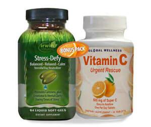 Irwin Naturals Stress Defy + Vitamin C Urgent Rescue Bonus Pack Stress Relief