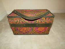VINTAGE HARTMANN LUGGAGE CUSTOM CRAFTED TAPESTRY PINK GREEN PATTERN TRAIN CASE