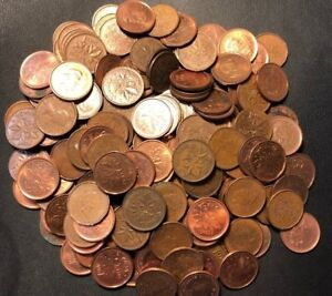 Old Canada Coin Lot - 100 One Cent Pennies - Mixed Dates - Lot #F28