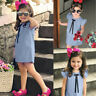 Summer Infant Baby Kids Girls Fly Sleeve Bow Solid Print Dress Clothes Dresses