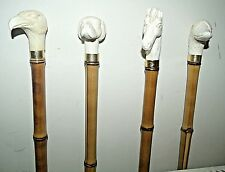 Collection of 4 Walking Sticks Canes Ivory Colour Animal Top Head Bamboo Canes
