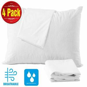 4 X Pillow Case Terry Waterproof PIllow Protector Anti Allergic Pack of 4 Pillow