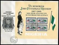 NIGERIA  1964 JOHN  F. KENNEDY SOUVENIR SHEET FIRST DAY COVERS