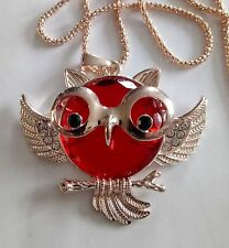 Red crystal and rhinestone owl wearing glasses pendant necklace on long chain