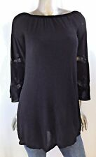 American Rag Womens Top Tunic Black BOHO Size XXS Peasant Bell Sleeve Over Sized