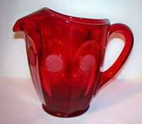 "Fostoria COIN Glass FROSTED RED Coins *6 1/2"" - 32 OZ PITCHER WITH ICE LIP"