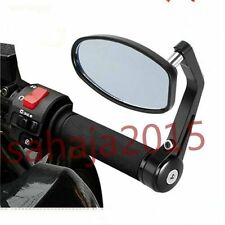 """BLACK MOTORCYCLE 7/8"""" HANDLE BAR END MINI MIRRORS FOR BOBBER CLUBMAN CAFE RACER"""