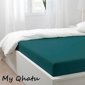 Ikea NATTJASMIN Full Fitted sheet dark green cotton/ lyocell  New