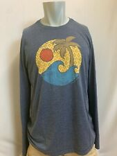"New Life is Good Men's ""Palm Waves"" Long Sleeve T-Shirt, Blue, L, XL"
