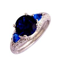 Sapphire Blue Cubic Zirconia Stone Set In Engraved Silver Ring Various Sizes
