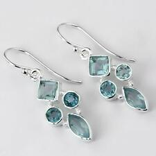 BLUE TOPAZ STONE 925 STERLING SILVER DROP DANGLE EARRINGS Length 1 1/2""