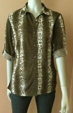 "Almost Famous Brown/White Print 3/4 Slv. Button Down Shirt.Bust: 37"" Sz L"