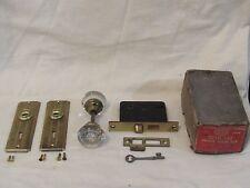 Antique CORBIN Glass Door Knob Lockset Skeleton Key - NOS with Original Box