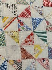 """OMG! Vintage Handmade Hand Quilted Pinwheel Feed Sack Quilt 73"""" x 86"""" #901"""