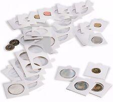 100 étuis carton blancs pour pièces de monnaie diamètre au choix 17,5 à 39,5 mm