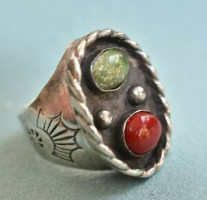 Large Vintage Sterling Silver Red Coral & Turquoise SZ 7 Mens Biker Ring Mexico