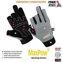 KYB® Carpenter 3 Finger GLOVES Working Wood Work Protective Cut Framer Gloves UK