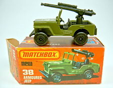 "MATCHBOX sf Nº 38c Armoured Jeep avec MG ""Jeep"" BPL. top en rouge BOX"