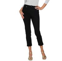 Isaac Mizrahi Live! Regular 24/7 Denim Fly Front Ankle Jeans Color Black Size 8