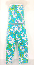 Vanity Petites Capri Pants & Strapless Top Set Blue Floral Embellished PS & PL