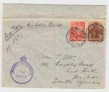 WW1 South Africa - Egypt Postage Prepaid 1942 Cover Censor to Durban