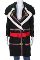 Prada Womens Plaid Belted Double Breasted Coat Black Purple Wool Size IT 38
