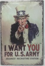 "Uncle Sam ""I Want You"" Vintage Retro Tin Metal Sign 13 x 16in"