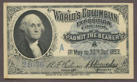 1893 World's Columbian Exposition George Washington Admission Ticket