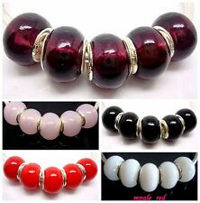 Fashion Pure Color Lampwork Glass Big Hole Beads Fit European Charm Bracelet
