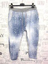 BAGGY JOGPANT FREIZEIT HOSE SWEAT PANTS Jeans-Optik Used Look 36 38 40 Blau EF60