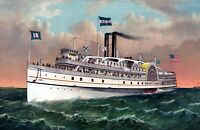 "1882 Steamship Rhode Island Art Print 11"" x 17"" Reproduction"