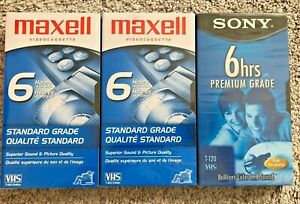 1X Sony 6 Hrs T-120 Premium Grade Blank Tapes VHS & 2X Maxell Standard 6 Hr NEW!
