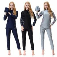Women Long Sleeve Muslim Islamic Full Cover Costumes Modest Swimwear Burkini Set