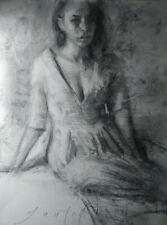 FEMALE FIGURE Dress 9x12 Portrait Original Life Charcoal Drawing Modern REALISM