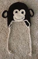 HANDMADE CROCHET KNIT HATS FOR BABIES & KIDS-DARK BROWN MONKEY-SIZE 0-6 YEARS