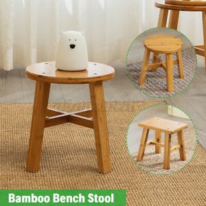 Wooden Small Stool Footstool Bar Stool Chair Home Kitchen Round Square Bench UK