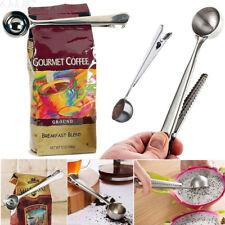 Stainless Steel Ground Coffee Measuring Scoop Spoon Bag Sealing Clip Cook Tool