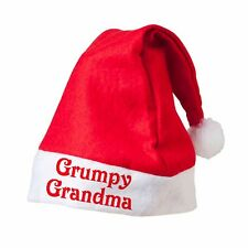 GRUMPY GRANDMA Red Santa Hat Printed Festive Father Christmas Novelty Customised