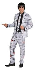 Adult Pop Star One Size Newspaper Style Suit Fancy Dress Outfit