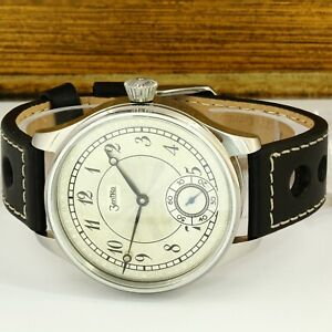 Zentra vintage movement cased in all stainless steel case. Mechanical Swiss made