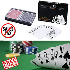 Plastic Playing Cards 2 Decks Waterproof Washable Poker Size 52 Cards 2 Jokers