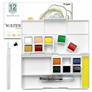 Watercolour Paint Set Pocket-Sized Box 12 Colours Aqua Brush Included Ezigoo